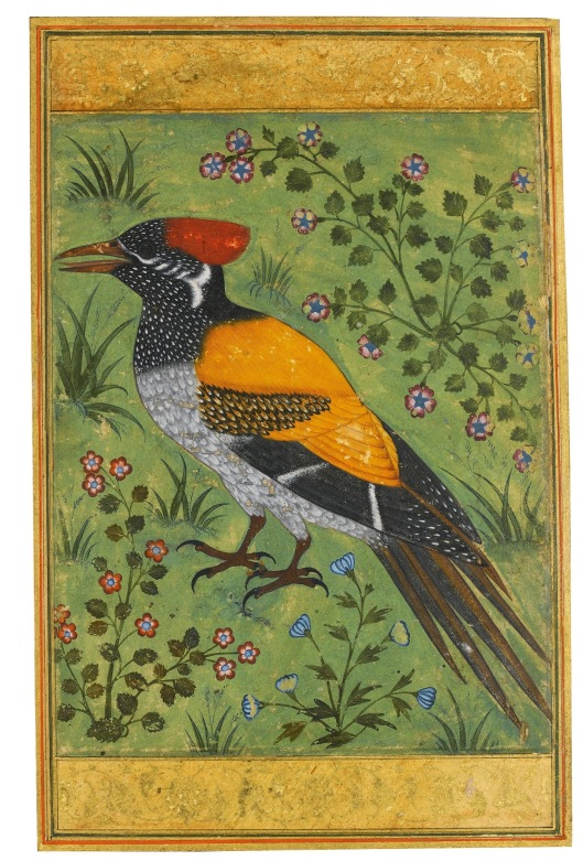 A Yellow-backed Woodpecker, Attributed to Mansur; Mughal Period, circa 1585-90.